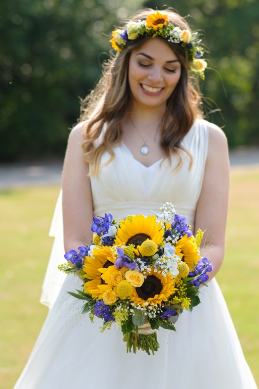 Whirlowbrook Hall wedding photographer bride with sunflower bouquet
