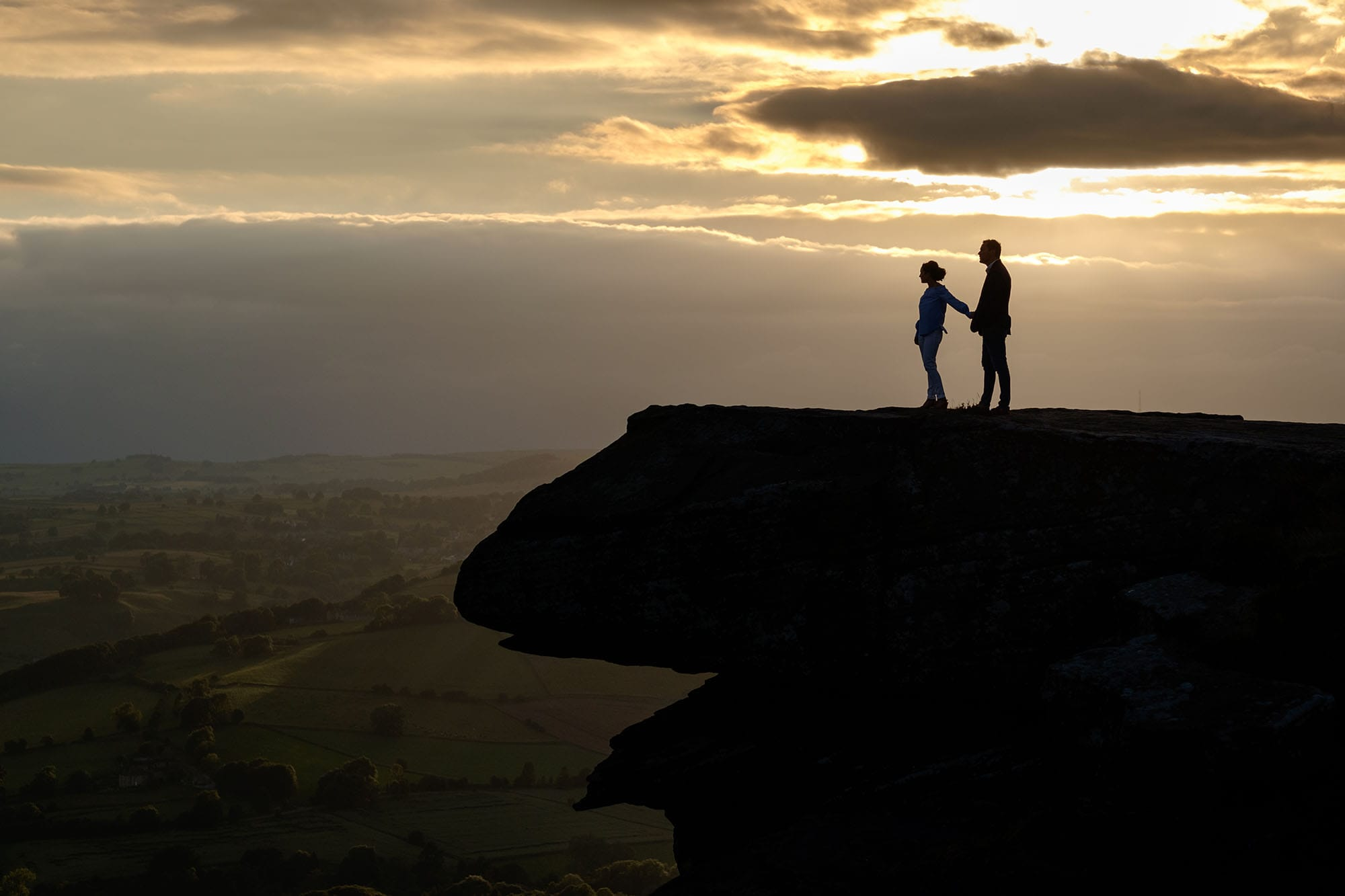 Peak District pre-wedding photography Christina and Toby edge