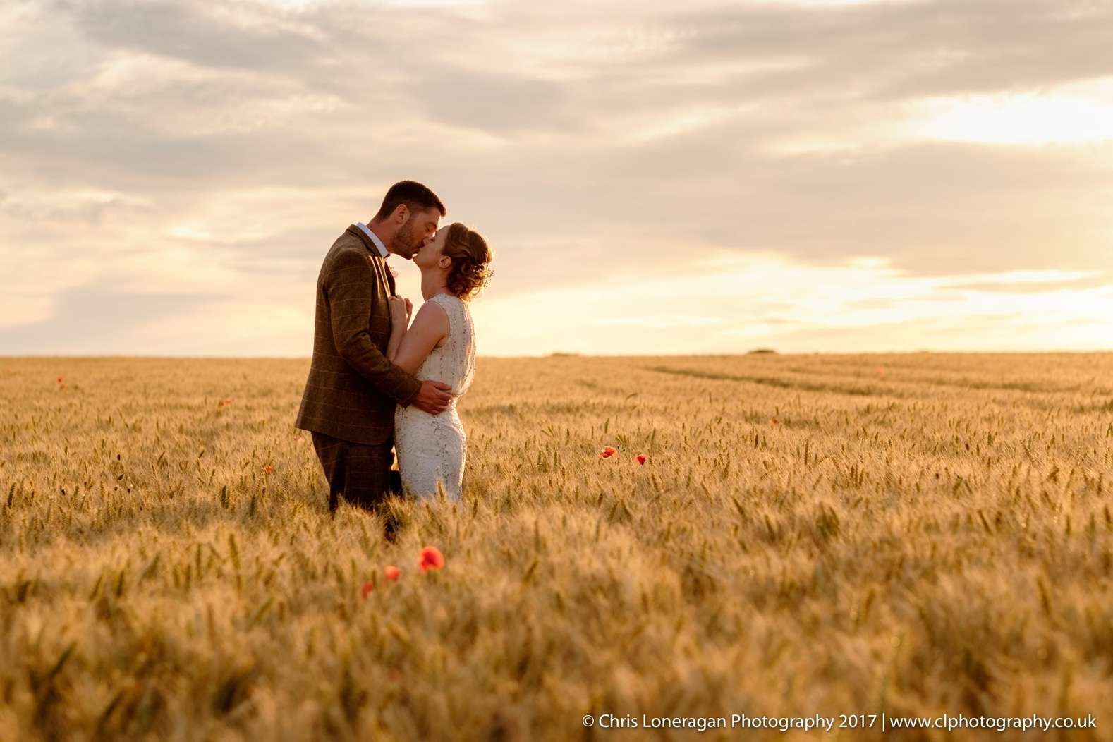 sunset wedding photography by Sheffield wedding photographer Chris Loneragan edge